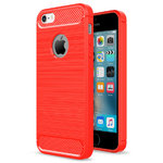 Flexi Carbon Fibre Tough Case for Apple iPhone 5 / 5s / SE - Brushed Red